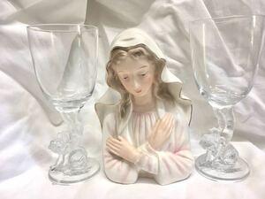 昭和レトロ マリア様一体と天使のグラス2個まとめて マリア像 ワイングラス エンジェル スーパーニッカ 西洋