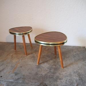 ドイツ ヴィンテージ ミニ花台テーブル机 木製 ディスプレイ棚 家具 化粧棚シャビー ミッドセンチュリー スプートニク小物 古道具 店舗什器
