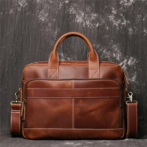 高級本革 厚手牛革 メンズバッグ ブリーフケース ビジネスバッグ 手作り トートバッグ 14PC対応 A4書類 通勤 出張 鞄 AMWYY-MB-184