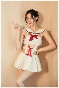 新入荷1581 白 Tバック付き3点セット 新デザイン セクシーランジェリー コスプレ衣装 sexy メイド服