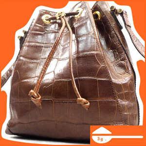 即決★オールレザーショルダーバッグ メンズ レディース 本革 本皮 ブラウン 茶 クロコ型押し 巾着型 レトロ かばん 鞄 B291 3g.