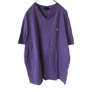 YR154 ポロバイラルフローレン POLO by Ralph Lauren 半袖 Tシャツ Vネック ワンポイント 刺繍ロゴ 紫 パープル ビッグサイズ メンズXL nn