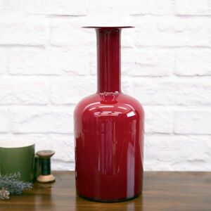 IZ49235F○希少 ホルムガード GUL VASE フラワーベース Holmegaard ガラス 花瓶 デンマーク 北欧 ヴィンテージ オブジェ 装飾 インテリア
