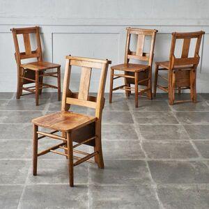 IZ48392F○4脚セット 英国 アンティーク チャーチチェア 楡 古木 チャペル 教会 椅子 カントリー エルム キッチンチェア 古い木製 無垢材