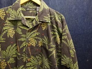 USA 古着 卸 ビッグ サイズ シルエット オープンカラー 開襟 植物 バナナ 総 柄 半袖 アロハ シャツ / ハワイアン