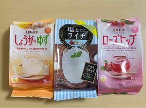 日東紅茶 スティックドリンク 3種 しょうが&ゆず/塩とライチ/ローズヒップ 30本