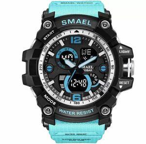 ◆ 【1円!】最落なし!海外人気ブランド SMAEL S-SHOCK メンズ高品質腕時計 50M防水 アナログ&デジタル ライトブルー 1704
