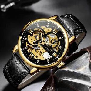 ◆ メンズ腕時計 機械式 自動巻き スケルトンデザイン 本革ベル ト シンプル 紳士ウォッチ 夜光 防水 カジュアル ゴールドブラック 1678