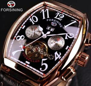 ★◆★ 高級 腕時計 メンズ FORSINING 海外 人気 ブランド 自動巻き トゥールビヨン 本革 FSG9409M3 レザー 機械式 1200