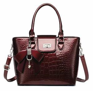 【本日限定セール】ZARA系 クロコダイル 型押し 海外ブランド レディースバッグ 優雅 ハンドバッグ 高品質 大容量 上品 セレブ 赤