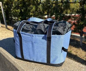 新品レジカゴバッグ 保冷保温折りたたみ エコバッグ 大容量レジかごバック ブルー