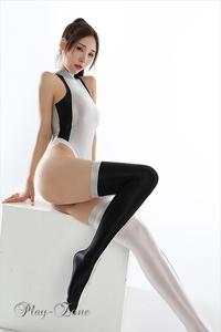 B028G 超光沢 ハイレグ レオタード セクシー コスチューム ストッキング コスプレ衣装 レオタード セクシー 衣装 ストレッチ 銀/黒