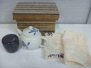 平安春峰 急須 きゅうす 白磁後手急須 煎茶道具 茶道具 煎茶器 茶器 京焼 蘭 染付 在銘 なつめ セット