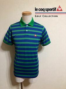 【美品】 le coq sportif GOLF ルコック ゴルフ ウェア ボーダー ドライ ポロシャツ トップス サイズL 半袖 青 緑 デサント製 QG2962
