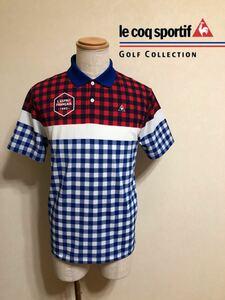 【美品】 le coq sportif GOLF ルコック ゴルフ ウェア ドライポロシャツ チェック柄 トップス サイズM 半袖 デサント QG2907 青 赤 白