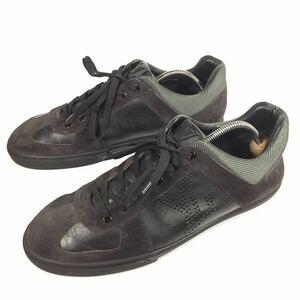 【ルイヴィトン】本物 LOUIS VUITTON 靴 26cm 黒 LVロゴ スニーカー カジュアルシューズ レザー×スエード 男性用 メンズ イタリア製 7