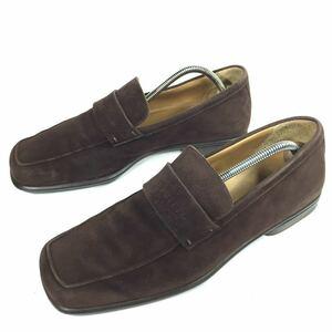 【ルイヴィトン】本物 LOUIS VUITTON 靴 26cm 茶 ロゴモチーフ ローファー スリッポン ビジネスシューズ スエード 男性用 メンズ 伊製 7