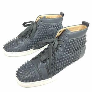 【ルブタン】本物 Louboutin 靴 25cm グレー色系 スタッズ ハイカットシューズ カジュアルシューズ スニーカー スパイク レザー メンズ 40