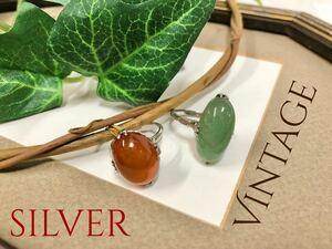 ヴィンテージアクセサリー シルバー SILVER 緑石 天然石? 昭和レトロ 指輪 リング 10号 刻印あり