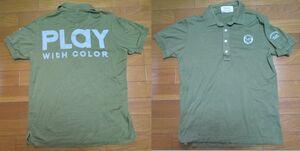 日本製 PEARLY GATES PLAY 半袖 シャツ サイズ3 刺繍 ポロシャツ グリーン 緑系 ゴルフ パーリーゲイツ デカロゴ