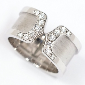 Cartier カルティエ 2C ドゥーブルC C2 リング LM ダイヤ14P 750WG K18ホワイト #52(約11.5号) 指輪