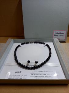 【未使用品】国産あこや黒真珠セット ネックレス+イヤリング アコヤ真珠調色7~8mm珠 イヤリングSV KS