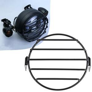 汎用 バイク ヘッドライトプロテクターグリルガードカバー7インチ金属保護メッシュグリルサイドライトランプマウントカバー