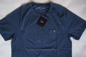 新品タグ付 イタリア チルコロ CIRCOLO 1901 ネイビー系 半袖 ポケット付き ジャージー クルーネック Tシャツ Lサイズ ウォッシュド仕上