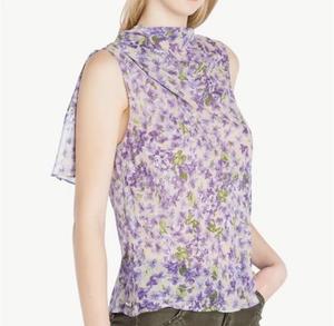 新品定価約4万円タグ付き イタリア製 すみれの花咲くシフォンシャツ