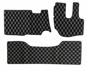デュトロ ダイナ トヨエース 平成11年5月- 標準 ダブルキャブ フロアマット フロント リア グレー x ブラック チェック 灰x黒 PA-TFM2122-G