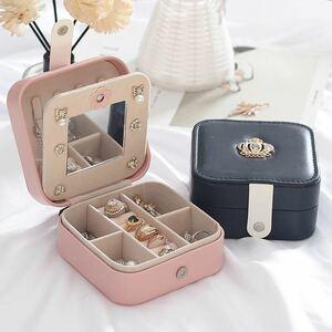 (ピンク)新品未使用・ジュエリーボックス アクセサリーケース 小物収納 ピアス イヤリング 指輪 ネックレス 収納