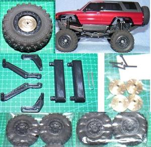 ミニッツ 4×4 4ランナー用 金属製変換ハブ+RGTタイヤ黒+ボディ10mmリフトアップ 京商 Kyosho Mini Z 4x4 4RUNNER ハイラックス