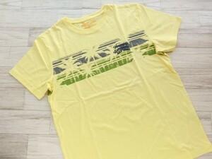 201120.059 PIKO ピコ メンズ半袖プリントTシャツ イエロー×ヤシの木柄 Lサイズ 綿100%