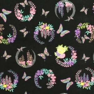 鬼滅の刃。激安!胡蝶しのぶ生地、家紋の藤の花、黒。