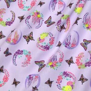 鬼滅の刃。激安!胡蝶しのぶ生地、家紋の藤の花、薄紫。