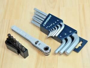 ▲SIGNET 9PC 六角レンチ+KTC 板ラチェット差替えドライバセット TMDB8★シグネット 携帯 車載 工具 六角棒レンチ ドライバーセット