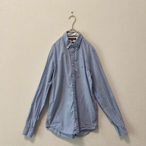 トミーヒルフィガー 長袖シャツ BDシャツ ストライプ柄 フラッグロゴ ワンポイント刺繍ロゴ ボタンダウンシャツ TOMMY HILFIGER