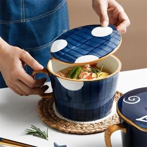 ヌードルカップ●ドット 水玉 インスタント ラーメン うどん 蓋つき 食器 どんぶり 丼 大容量 オフィス かわいい おしゃれ ギフト bb394