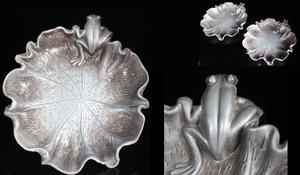 【最上】初出し 極上 希少品 蛙 かえる カエル 茶托 2組 金工細工 古銀製 置物 盆景 煎茶道具 古美術品