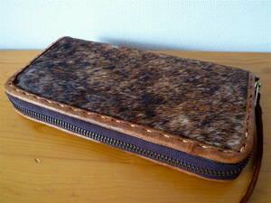 ハラコ 本革レザー ロングウォレット 長財布〈 ブラウン 〉美品