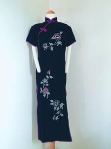牡丹刺繍 バイオレッドチャイナドレス XXXL