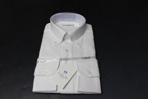 新品「HITOYOSHI」ヒトヨシ 超長綿100% 形態安定/ボタンダウン長袖ドレスシャツ 39-82 白織柄/ ラフェッタブルーLFTG-BD-109(3A214