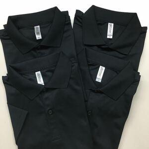 グリマー 4枚組 ドライポロシャツ 半袖ポロシャツ 無地ポロシャツ ポケット無し ブラック メンズMサイズ 4.4オンス 00302-ADP