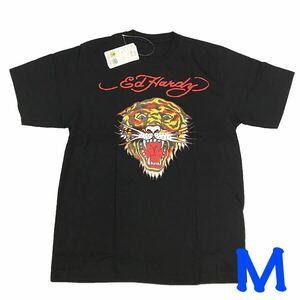 アウトレット★エドハーディーの前プリントタイガーTシャツ 半袖 ブラック M