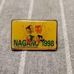【激レア】 1998 長野オリンピック テレホンカード型 ピンバッジ / ピンバッチ ピンズ スノーレッツ NAGANO 五輪
