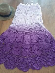 ロングスカート M SHELRAY シェルレイ ニット 鍵編み スカート ニットスカート ラベンダーカラー グラデーションカラー