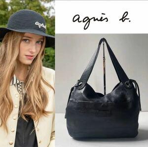 agnes b. ロゴ刻印 牛革 ハンドバッグ トートバッグ ブラック