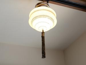 アンティーク照明 ヴィンテージ シーリングライト アール・デコ ミルクガラスランプ(天井照明)※直付専用