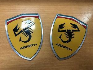 Abarth フェラーリ風 メタル調ウィングバッジ アバルト 595 500 124 プント punto Fiat フィアット ロゴ エンブレム ステッカー2個セット8