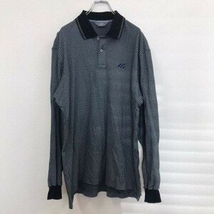 5086 日本製 ミズノゴルフ 長袖ポロシャツ グレー LL ビッグサイズ